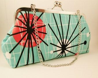 Mod Atomic Clutch | Retro Kiss Lock Aqua Bag | Hipster Purse | Geek Gift | Travel Bag | Nerd Handbag | Retro Wedding | Bridesmaid Gift