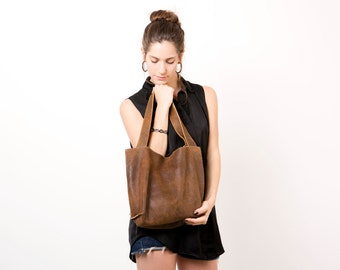 Soft leather bag - Brown Leather tote bag - Everyday bag - Leather handbag - Shiri bag / Distressed brown
