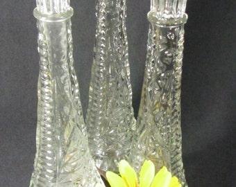Vintage glass vase, set of 3, classy glass vase