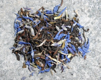 Organic BLUE MONDAY Artisan Tea Blend - Bright and Floral - Darjeeling, Cornflower Petals, Lavender - One Ounce Loose Tea yields 20-24 Cups