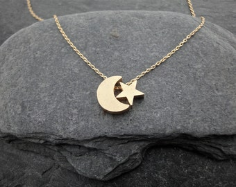 Dainty Necklace, Gold Crescent Moon and Star, Delicate Fine Chain, 16K Gold Plated