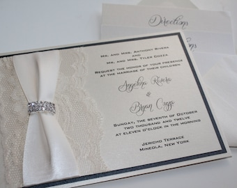 Lace Wedding Invitation, Lace Wedding Invite, Wedding Invitation, ANGELINA