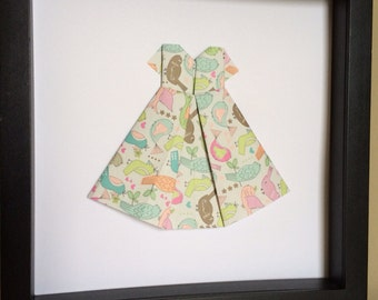 Origami folded dress, 3D paper art, perfect for your little girls room