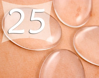 30x40 mm Oval Clear Glass Cabochons Glass Tile Cabs