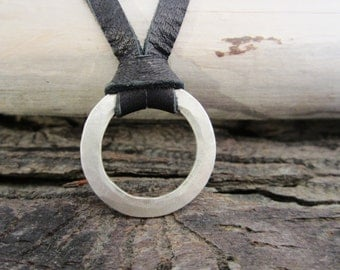 Hammered Sterling Silver Circle and Deerskin Lace Leather Necklace - Black - mens/womens