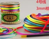 22 Yard(20 meters) Neon/Rainbow colorized Nylon Beading Cord Chinese Knot Cord 1mm/2mm/2.5mm For Jewelry Accessories