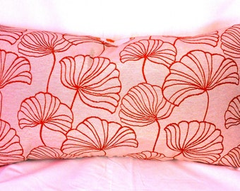 Single Kidney Designer Pillow Cover of Tangerine and Off-white. Gingko and Geometric Designs.