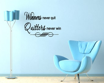 Wall Quotes Winners Never Quit Vinyl Wall Decal Quote Removable Wall Sticker Home Decor Sports Baseball Football Decor (M29)