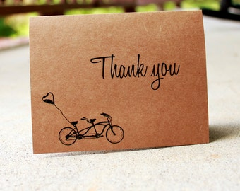 Bicycle Thank You Cards, Bike built for two cards, Love Thank You Card, Rustic thank you Cards, Kraft Thank You, Wedding Thank You Set of 25