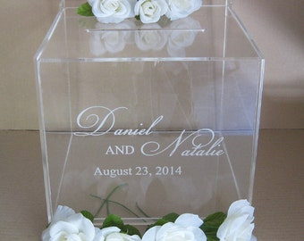 "Custom Engraved Wedding Card Box, Gift Card Box - 10""x10""x10"""