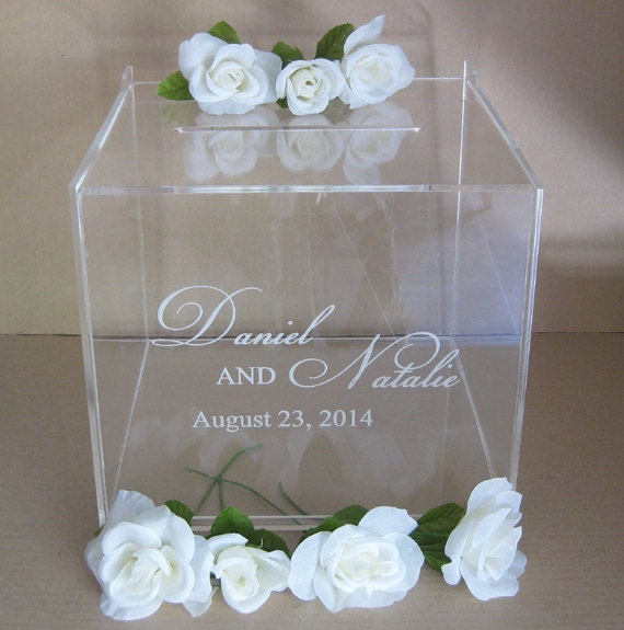 Wedding Gift Card Containers : Custom Engraved Wedding Card Box Gift Card Box by Plasticsmith
