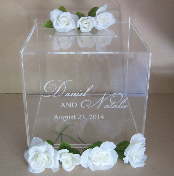 Custom Engraved Wedding Card Box Gift Card Box by Plasticsmith