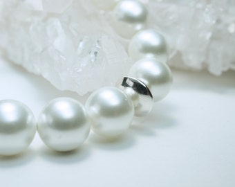 White Pearl Shell Bracelet with a Sterling Silver Focal Bead
