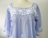 Mexican Embroidered Blouse 3/4 Sleeve Cotton Top in Blue, Boho Blouse