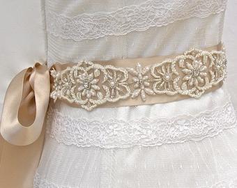 Bridal Sash, Wedding Sash in Champagne And Ivory, Crystals and Pearls, Rhinestones, Bridal Belt, Wedding Dress Sash, Beaded Wedding Sash