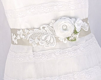 Bridal Sash, Wedding Sash in Champagne, Ivory, Cream  With Lace, Crystals and Pearls, Bridal Belt