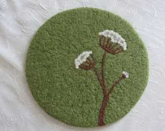 Handmade Wool Felted Hot Pad/Trivet with Needle Felted Queen Anne's Lace Design