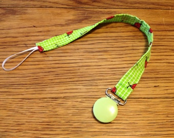 Lime Green Lady Bug Pacifier Clip