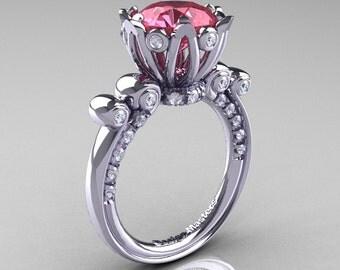 French Antique 14K White Gold 3.0 Carat Light Tourmaline Diamond Solitaire Wedding Ring Y235-14KWGDLT