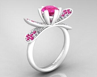 Organic Design 14K Ceramic White Gold 1.0 Ct Pink Sapphire Diamond Nature Inspired Engagement Ring Wedding Ring R671-14KCWGDPS