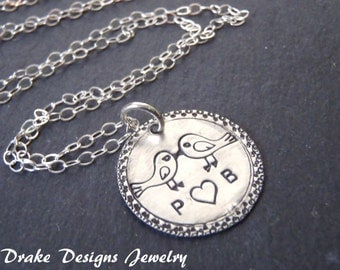 Sterling silver Love Bird Necklace personalized initials