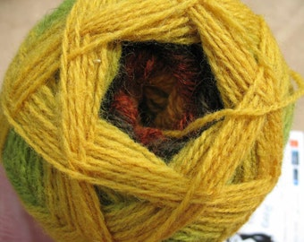 Green Yellow Orange Brown Autumn Fall Kauni EV 2 ply wool sport weight yarn. Knit Crochet and Felt.  Imported from Denmark. Ships from USA