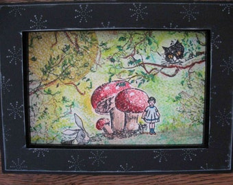 Alice in Wonderland Affordable OOAK Art Hand Stamped and Colored Framed Cheshire Cat White Rabbit Moon Mushrooms