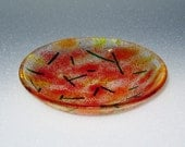 Fused Glass Bowl - Red Yellow Orange - Fused Glass Dish - Small Round Bowl - Frit Bowl - Candy Dish - Dip Dish - Trinket Dish