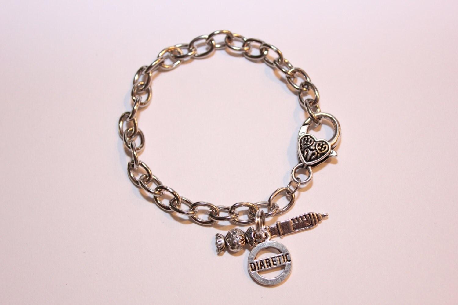 diabetic diabetes medic alert adjustable silver bracelet