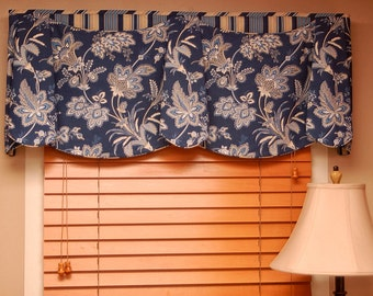 "Custom Valance JORDAN Hidden Rod Pocket Valance fits 33""- 46"" Window, Made using your fabrics, my LABOR and lining"