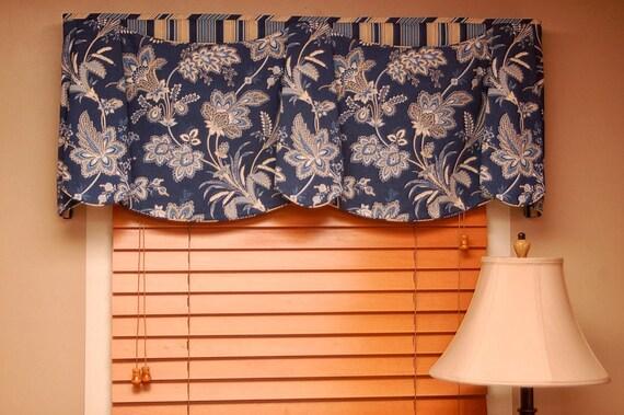 "Custom Valance JORDAN Hidden Rod Pocket Valance fits 33""- 46"" Window, Made using your fabrics, my LABOR and lining"