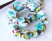 Fabric Statement Necklace,Teething Necklace, Chomping Necklace, Nursing Necklace -  Teal Garden 2