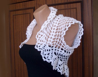 White crochet shrug - Sleeveless jacket - Wedding bolero jacket - Lace shrug bolero - Bridal cover up - Evening wear - Bridesmaid shrug