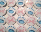 Football And Bows Gender Reveal Party  Party Favors Set of 20 1.25 inch Pin Back  Buttons Pink Blue Baby Shower Team Buttons