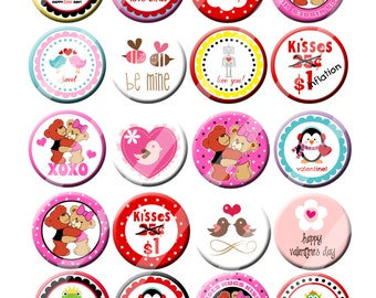 Fun Trendy Mixed Valentine Party Favors Pin Back Button Party Favors 1.25 inch Buttons set of 20