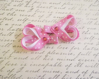 Pink and White Heart Ribbon Sculpture Alligator Clips
