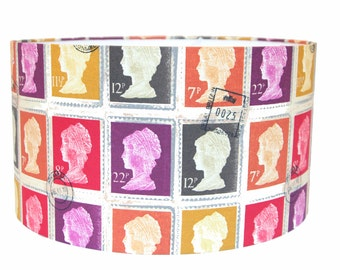 Stamp Lampshade drum shade, Postage Stamp Fabric in purple and orange - 40cm Pendant/lamp fitting
