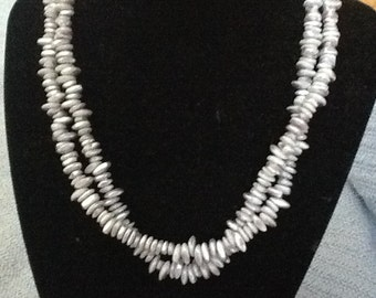 Lavendar mother of pearl shell chip necklace.