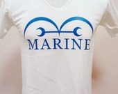 Cartoon One Piece Tshirt Marine Gov style  - Unisex Adult T-Shirt  white Tshirt