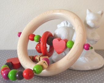 Wooden teether, Christmas gift, wood toy, baby rattle, organic toy, first christmas, rattle, baby girl, unisex toy, shower gift