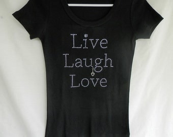 "Rhinestone, ""Live, Laugh, Love,"" Black T-Shirt, With a Removable Heart Charm. Clear Rhinestones. Inspirational Sayings"