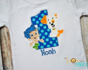 Bubble Guppies First Birthday shirt (Number can be changed) Bubble Puppy and Gil