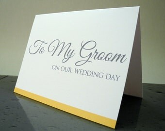 Groom Gift - To My Groom on our Wedding Day Card - Gift from the Bride