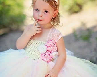 Ivory and Blush/Pink  flower girl tutu dress with handmade flower accents perfect for Vintage weddings