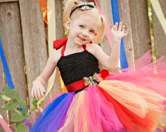 Rainbow Cutie- Rainbow flower girl tutu dress with removeable sash with rainbow bow perfect for Rainbow Colorful themed Events