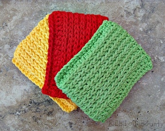 3 Colorful Crochet Kitchen Scrubbies Sponges Yellow Red & Green