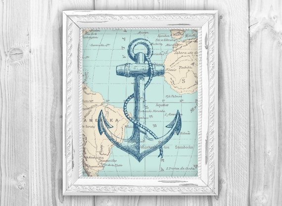 Nautical Map Anchor Art Print Nautical Beach House By
