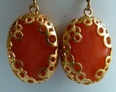 CLEARANCE SALE Strawberry Light Coral Citrus Quartz Stone with Golden Filigree Wrapped Dangle Earrings. 4