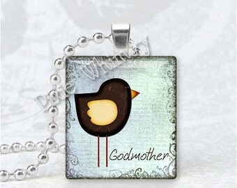 GODMOTHER Pendant, Godmother Charm, Bird Pendant, Scrabble Tile Art Pendant Charm Jewelry, Mothers Day