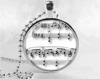 MUSIC Necklace, Musical Note, Sheet Music, Music Pendant, Music Jewelry, Music Charm, Art Glass Necklace, Musician, Disc Jockey, DJ Jewelry